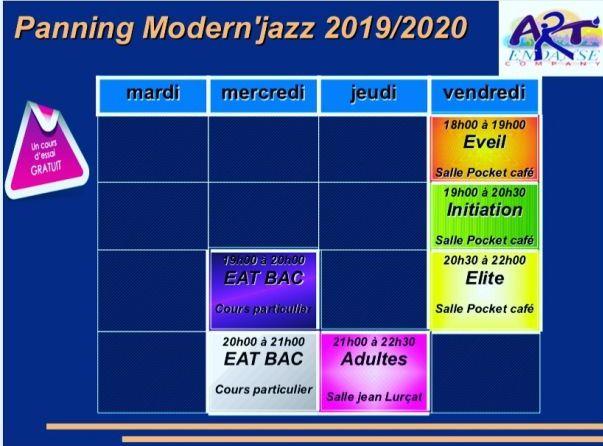 Planning des cours modern'jazz
